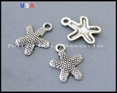 1 Silver STARFISH Charms - 17mm Antiqued Silver Ocean Nautical Beach Metal Charm Pendants - Instant Ship - USA Discount Charm - 6135