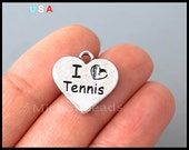 5 I Love TENNIS Charm PENDANTS - 17mm Double Sided Silver Heart Sport Engraved Stamped Message Metal Pendant Charm - Ship from USA - 6285