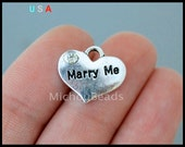 1 MARRY Me Heart Charm Pendant - 14mm Marriage Engagement Proposal Message Word Metal Heart w/ Rhinestone Charm - Instant Ship - USA - 6310