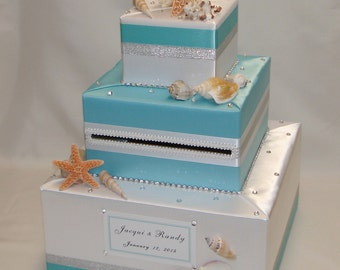 Beach- Ocean-Seashells theme Wedding Card Box-any colors