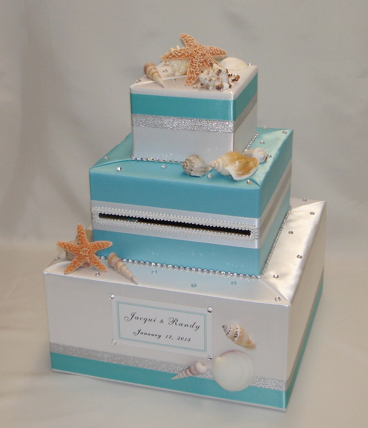 Beach Ocean Seashells Theme Wedding Card Box Any Colors