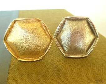 Vintage Emmons Shoe Clips Hexagon Gold Silver 50s (item 243)