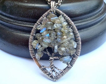 Wire Wrapped Pendant - Tree Of Life Necklace - Labradorite - Woodland Jewelry - Sterling Wire Wrap - Tree Of Life Pendant - Optional Chain