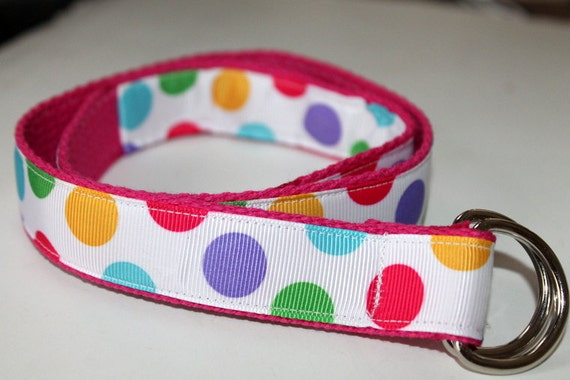Toddler D Ring Belt Hot Pink, Green, Blue, Purple, Yellow and Aqua Polka Dots Pink Webbing