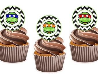 INSTANT DOWNLOAD: Teenage Mutant Ninja Turtle Cupcake Toppers / Tags