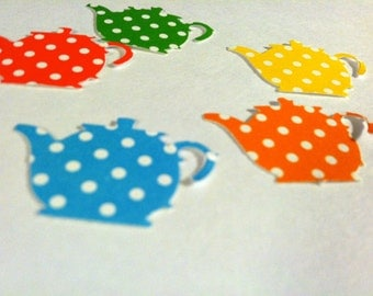 50 Green, blue, orange, red and yellow with dots TEA POTS 1 inch Birthday party ,scrapbooking, cards
