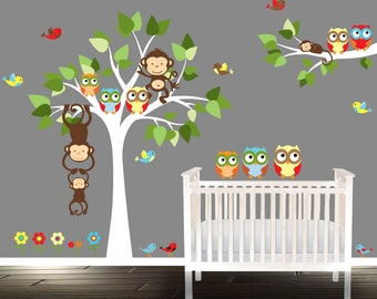 owl wall Decal, nursery tree, wall stickers, owl tree wall decals, boys playroom, Playroom wall stickers,