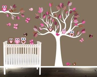 eule wandtattoo floral kinderzimmer aufkleber mädchen - Kinderzimmer Rosa Braun