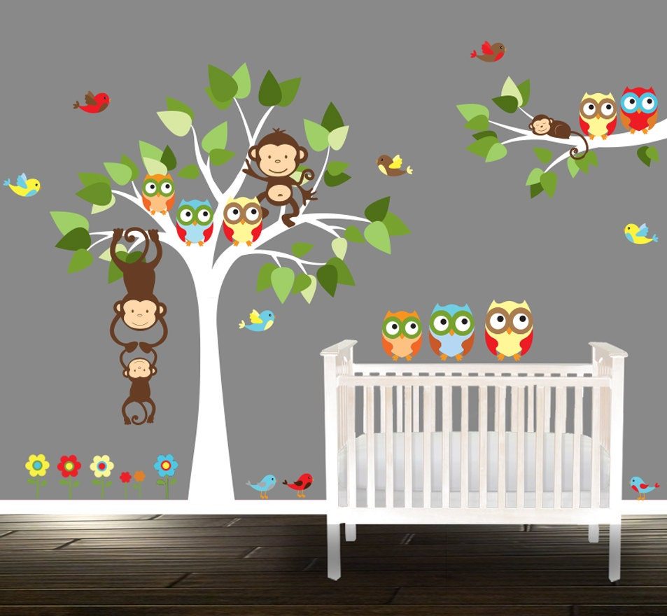owl wall decal nursery tree wall stickers owl tree wall. Black Bedroom Furniture Sets. Home Design Ideas