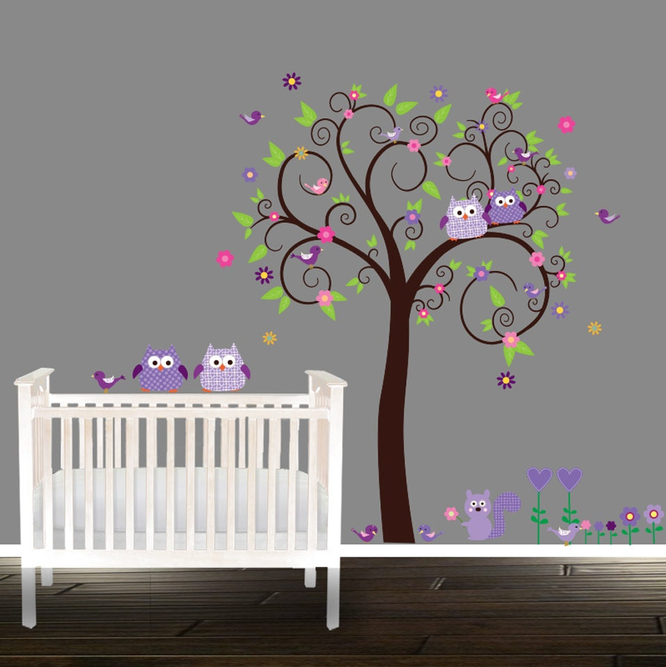 Purple nursery tree owl tree decals owl stickers owl tree zoom amipublicfo Image collections