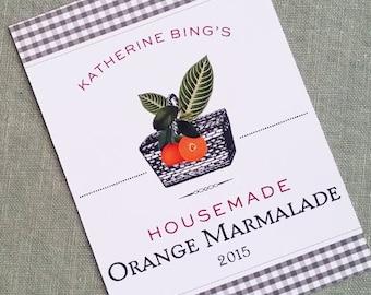 Orange Sticker, Orange canning, Jam Label, Preserves Sticker, set of 18