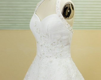 SAMPLE SALE - Ball Gown, A-line Wedding Dress , White, Sweetheart Neckline, Tulle Wedding Dress, Fitted Bodice, strapless