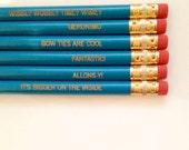 Wibbly Wobbly  Aqua pencil set of 6.  stocking stuffers