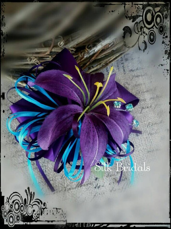 Purple Tiger Stargazer Nail Art Designs By Top Nails: Purple Tiger Lily WRIST Corsage Purple And Turquoise Ribbon