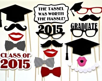 Graduation Photo Booth Props . Set of 17 . Customized Colors . Class of 2016