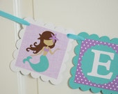 Mermaid Name Banner, Girl Banner, Mermaid Baby Shower, Chevron Party, Chevron Banner, White, Purple and Teal Banner Banner