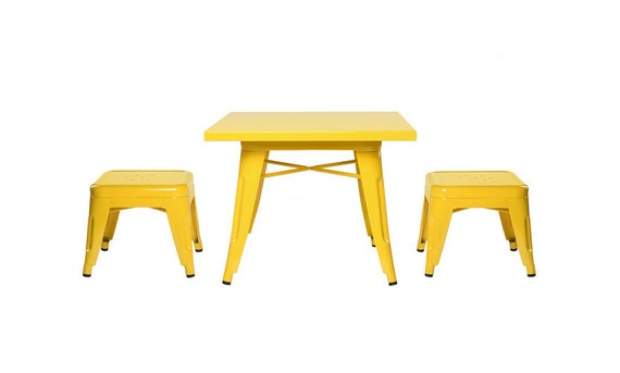 Custom Tolix Style Child Size Table Chair Set:  Option to Paint in the Color of Your Choice
