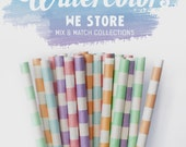 25 PAPER STRAW with free printable DIY Toppers - Watercolors