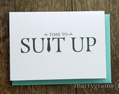 Time to Suit Up - Will You Be My Groomsman Card, Best Man, Usher, Ring Bearer- Wedding Cards for Guys to Ask Groomsmen, Guys (Set of 7)