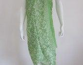 Silk Batik Sarong - Apple Green Abstract Leaves