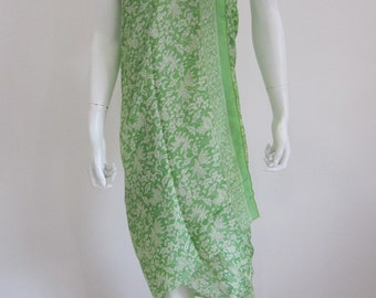 Silk Batik Sarong - Apple Green Abstract Leaves