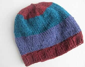 Cotton Chenille Handknit Hat for Children, Chemo Cap, One of a Kind, Ready to Ship