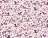 Fat eighth Plum Dog A Liberty of London tana lawn, scottie dog and butterfly design liberty print