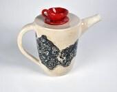 Ceramic Pottery Teapot, Red Cup Teapot, Handmade Teapot