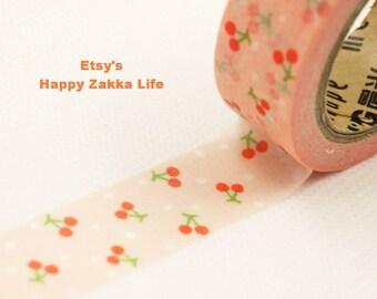 Japanese Washi Masking Tape - Little Cherry with Pink - 11 Yards