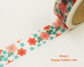 Japanese Washi Masking Tape - Red Pink and Blue Blooms - 7.6 Yards