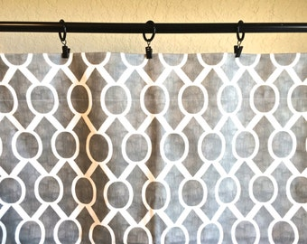 Storm Gray Geometric Curtains. Sydney Window Drapes. All Sizes. Modern Curtains. Drapery. Light Gray