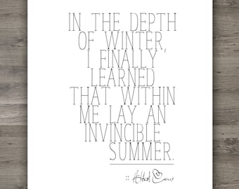 Instand Download | 8 x 10 Quote Art | Invincible Summer Quote | Albert Camus Quote | Wall Art | Home Decor