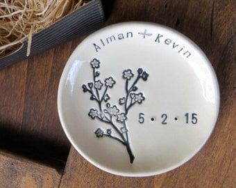 wedding ring dish,  Large ring holder, engagement gift, You plus Me,  Black and White,  Made to Order