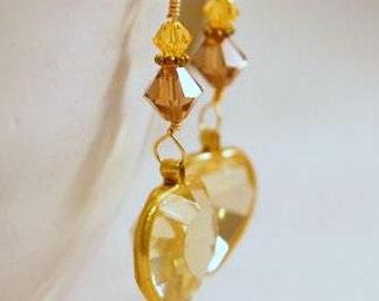 Vintage Topaz Heart Earrings , Topaz Swarovski Crystals, Beaded Dangle Pierced Earrings. OOAK Handmade Earrings. CKDesigns.US
