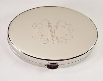 Custom Engraved Pill Box Personalized Silver Oval with Mirror and Removable Divider  -Hand Engraved
