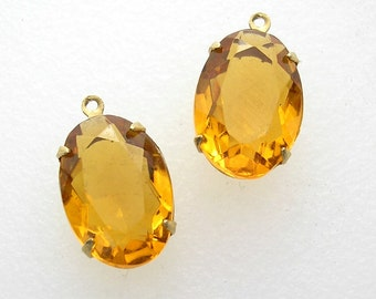 Two Pieces - 16x11mm Topaz Glass Jewels in Brass Drop Settings