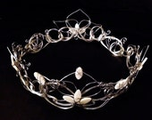 Silver Bridal Crown with Flower and Leaf Design, custom made Wire Tiara - Great for Princess, Queen, or Fairy Costumes & Weddings