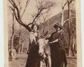 Vintage/Antique beautiful photo of two women and a donkey