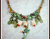 Hummingbird Bib Necklace, Clay Leaves, Berries, Resin Flowers, Greens and Creams, OOAK, Mixed Media