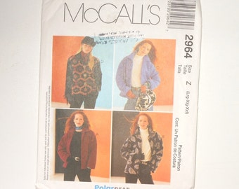 McCalls Misses Unlined Jacket Easy Fitting PolarGear 2000 UNCUT Sizes L-XXL Pattern Number 2964 Sewing For Fall