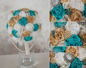 Gold & blue gatsby styled bouquet - customize your colors!