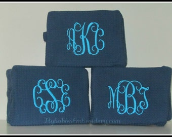 Set of 12 Personalized Cosmetic Bags ~ Monogrammed Toiletry Bags ~ Bridesmaid Cosmetic Bags ~ Quick shipping