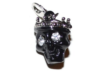 Black Skull Rhinestone Eyes Zipper Pull Charm Stocking Stuffers Unique Gifts Christmas Gifts