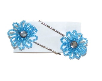 Blue Beaded Flower and Rhinestone Bobby Pins