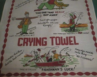 Vintage FISHERMAN'S CRYING TOWEL New Old Stock Cotton Linen Hand / Dish Towel