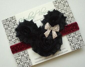 MINNIE MOUSE Black Chiffon Flowers with Rhinestone Bow on Red Glitter Elastic Headband - Newborn Baby - Photo Prop Disney Vacation Headband