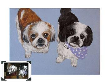 "11x14x0.75"" Custom Dog Portrait / Custom Pet Portrait - 2 Pets - Solid Background Acrylic painting on canvas Shih Tzu Schnauzer Samples"