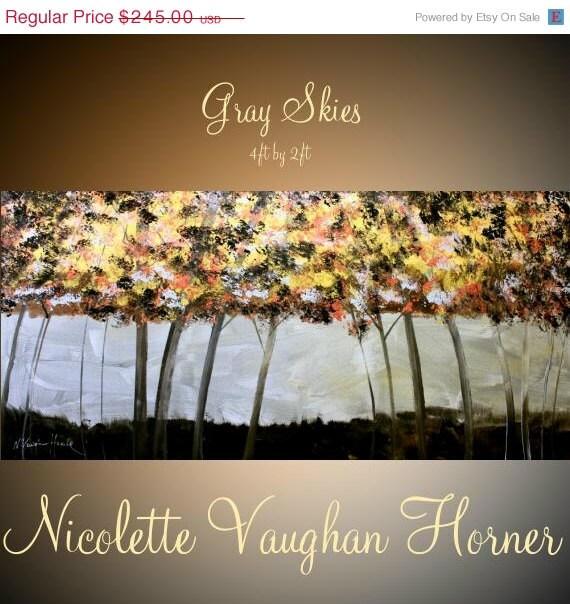 "SALE XLarge Original Modern 48"" palette knife signature Landscape Trees impasto oil painting Gray Skies by Nicolette Vaughan Horner"