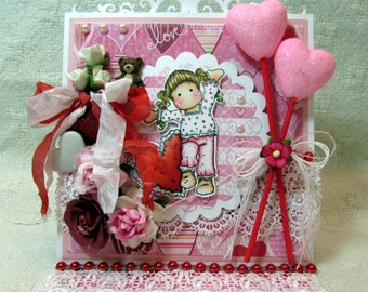 OOAK Magnolia Tilda Valentine's Day Easel Card - Reds, Pinks, Girly, Holiday, Gift, Hearts, Teddy Bear