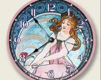 LADY in PINK wall clock - Art Nouveau - vintage home decor - Alponse Mucha